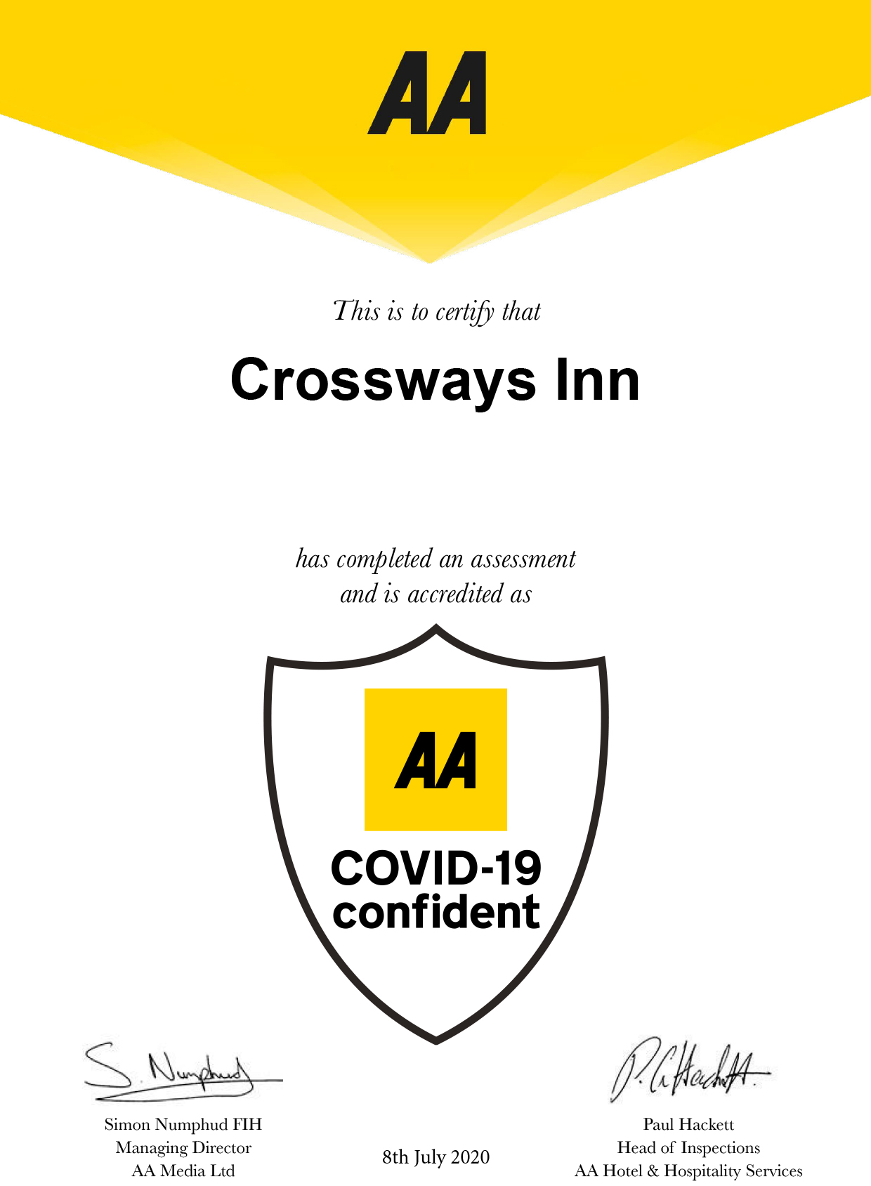 The Crossways AA Covid Confident Certificate